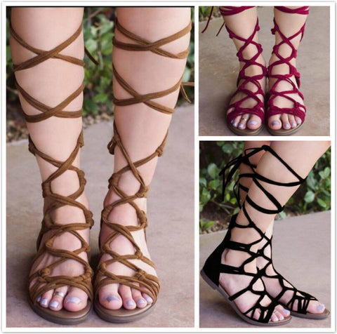 Lace Up Roman Gladiator Knee High Sandals
