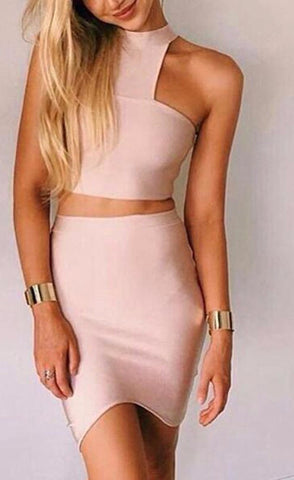 2 Piece Set Crop Top + Bandage Mini Skirt