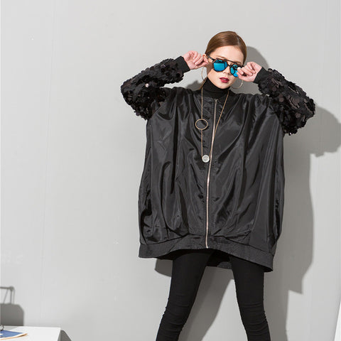 Street Theme Knee Length Lantern Sleeve Bomber Jacket