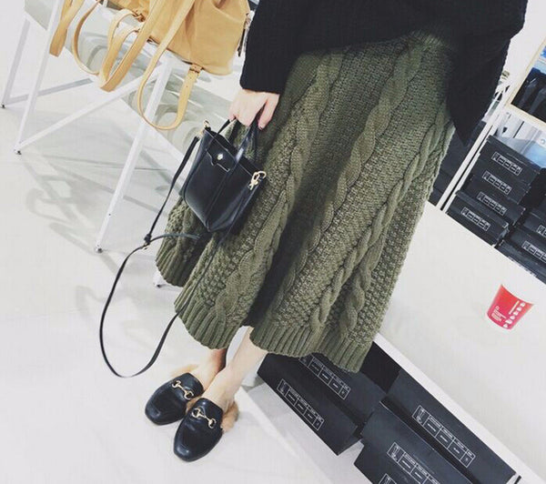 Cable Knit A-Line Ankle Length Skirt