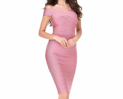 Off The Shoulder Knee-length Bandage Dress