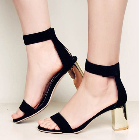 Genuine Leather Gold Heel Block Heels