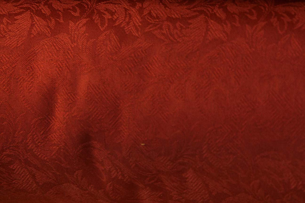3P: Embroidered Red Leaves Rubber back Curtains - Rainbow Fabrics