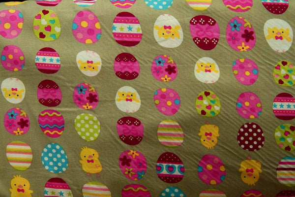 A1: Colourful Dancing Baby Chicks and Eggs Patchwork / Craft Fabric - Rainbow Fabrics