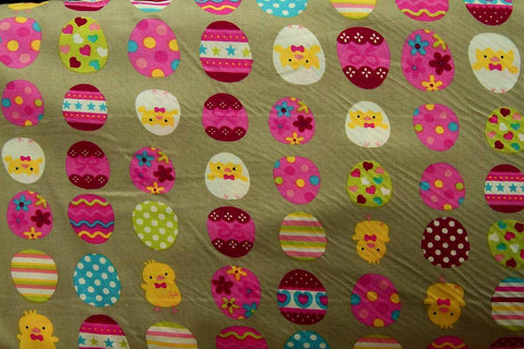 A1: Colourful Dancing Baby Chicks and Eggs Patchwork / Craft Fabric
