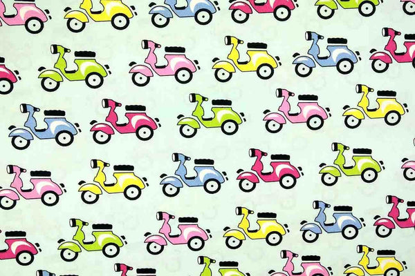 A1: Colourful Vespas Patchwork / Craft Fabric - Rainbow Fabrics