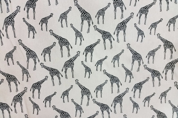 A1: Giraffe on White Patchwork / Craft Fabric - Rainbow Fabrics