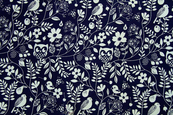 A1: Nesting Owls Black Patchwork / Craft Fabric - Rainbow Fabrics