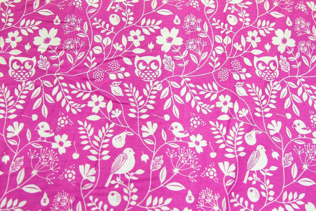 A1: Nesting Owls Pink Patchwork / Craft Fabric - Rainbow Fabrics