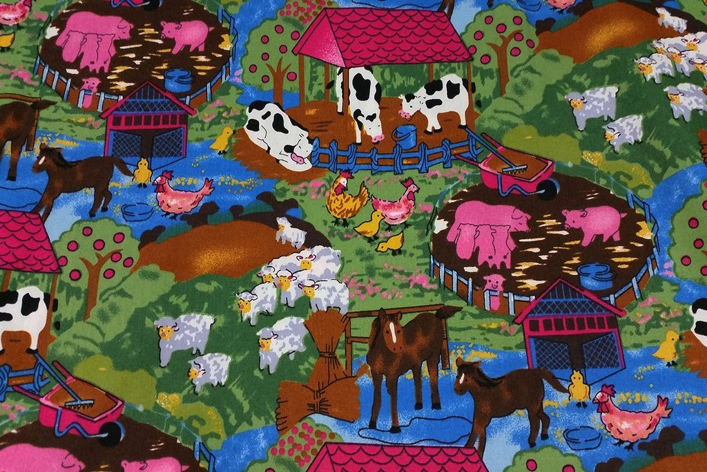 A1: Peaceful Farm Patchwork / Craft Fabric - Rainbow Fabrics