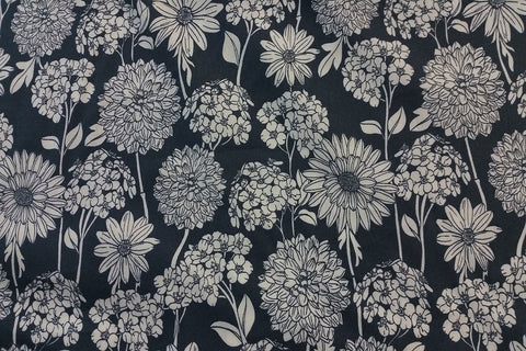 A2: Blossom Chrysanthemum On Dark Blue Patchwork / Craft Fabric