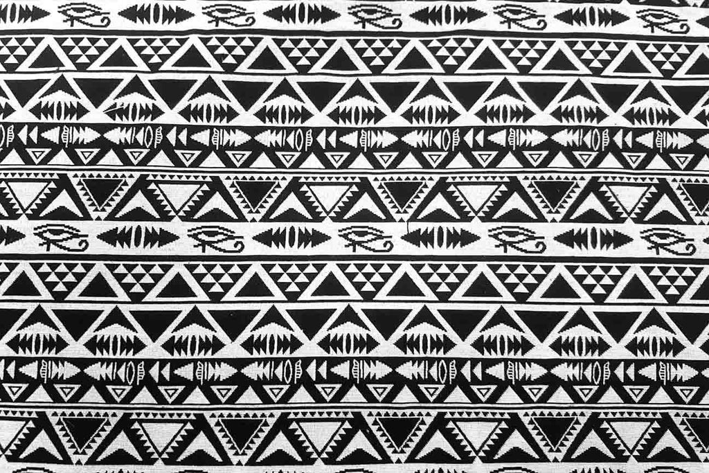 AT: Black and White Ra Aztec Tapestry - Rainbow Fabrics
