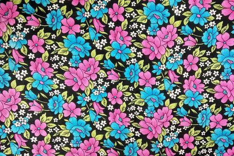 Blue-Pink / White Floral Rayon