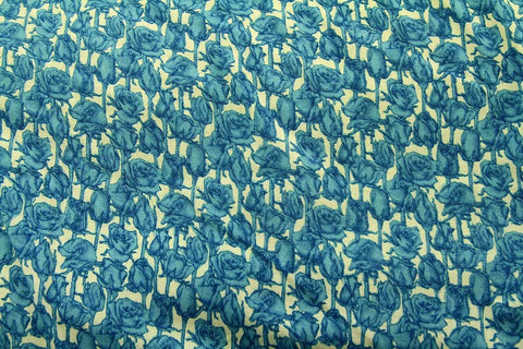 Blue Winter Rose #2 White Patchwork / Craft Fabric