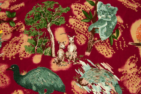 Bush Creatures Large Print Red Patchwork / Craft Fabric