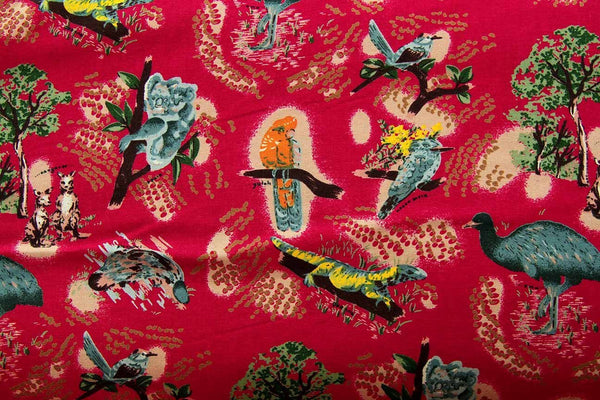 Rainbow Fabrics Bush Creatures Small Print Red Red Craft Fabric
