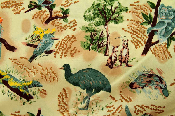 Rainbow Fabrics Bush Creatures Small Print Yellow Yellow Craft Fabric