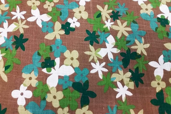 Rainbow Fabrics Butterflies on Flowers / Brown Cotton Linen Rayon