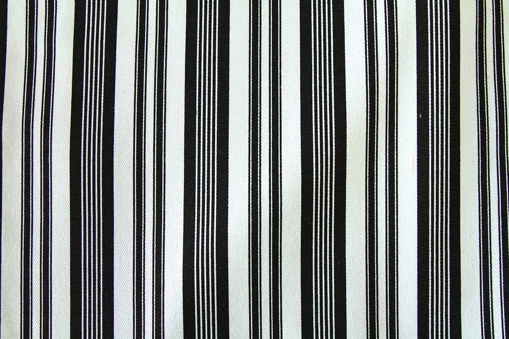 Rainbow Fabrics Ca: Black and White Various Stripe #1 Multi Coloured