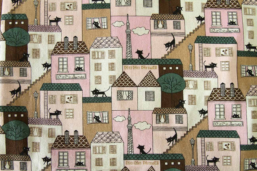 Rainbow Fabrics Ca: Cats on a Roof Pink Multi Coloured