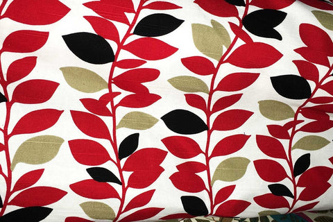 Ca2: Black – Gold – Red Leaves on White Canvas_SOLD OUT