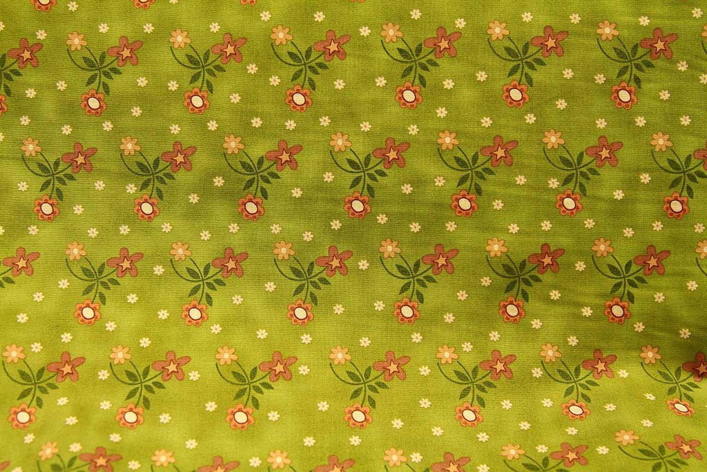 Rainbow Fabrics Cape Daisy Green Green Craft Fabric