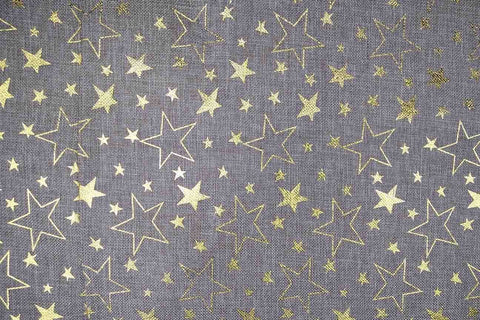 CH: Gold Stars Christmas Hessian