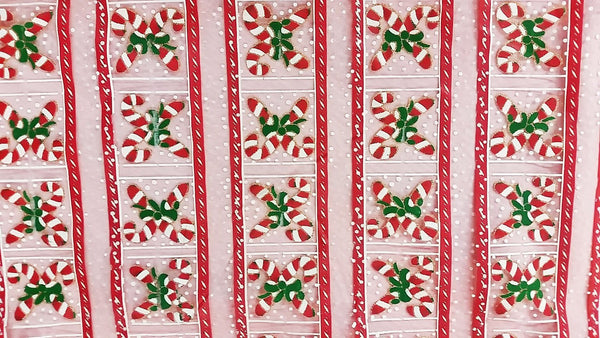 Rianbow Fabrics CO: Christmas Candy Bar in Line Organza Plain Crystal Organza