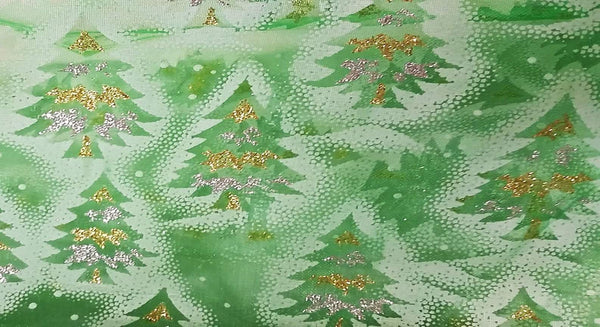 Rianbow Fabrics CO: Christmas Tree on Green Organza Plain Crystal Organza