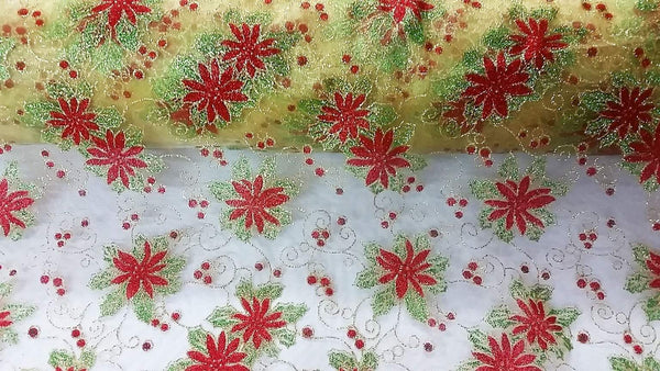 Rianbow Fabrics CO: Poinsettia on Gold Organza Plain Crystal Organza