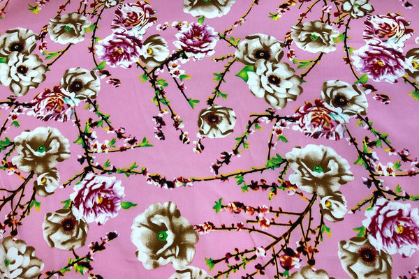 Rainbow Fabrics CS: Carnation Garden on Pink Cotton Sateen Price per meter