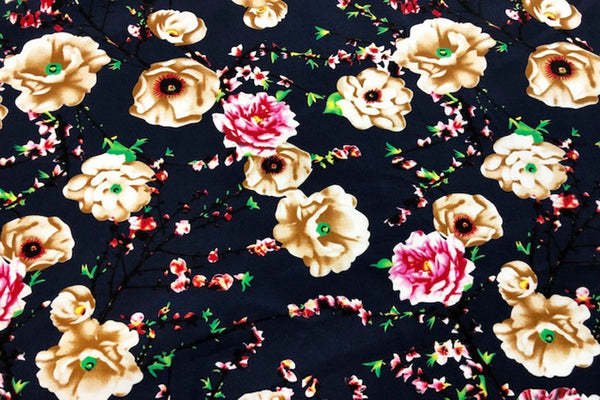 Rainbow Fabrics CS: Carnation on Navy Cotton Sateen Price per meter