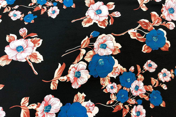 Rainbow Fabrics CS: Maroon and Blue Hibiscus on Black Cotton Sateen Price per meter