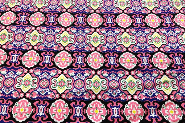 Rainbow Fabrics CS: Pink Aztec Pattern Cotton Sateen Price per meter