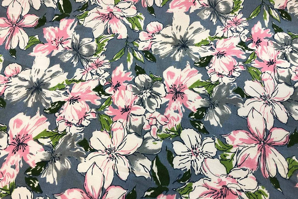 Rainbow Fabrics CS: Pink Hibiscus Abstract Cotton Sateen Price per meter