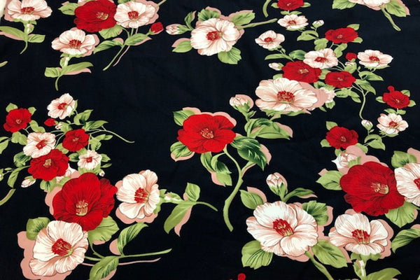 Rainbow Fabrics CS: Red and Light Pink Flower Cotton Sateen Price per meter