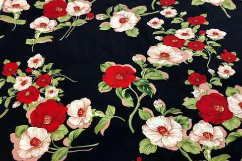 CS: Red and Light Pink Flower Cotton Sateen