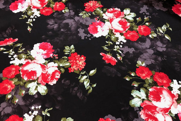 Rainbow Fabrics CS: Red Blossomed Tulip Cotton Sateen Price per meter