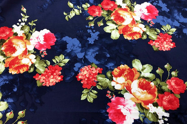 Rainbow Fabrics CS: Red Blossomed Tulips on Blue Cotton Sateen Price per meter
