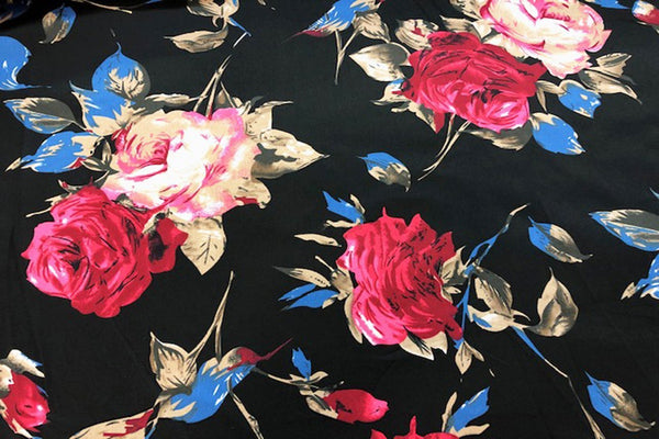 Rainbow Fabrics CS: Roses on Black Cotton Sateen Price per meter