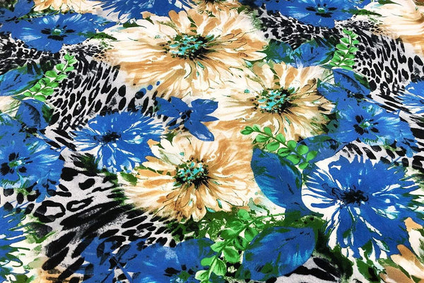 Rainbow Fabrics CS: Summer Flower Blossom Cotton Sateen Price per meter