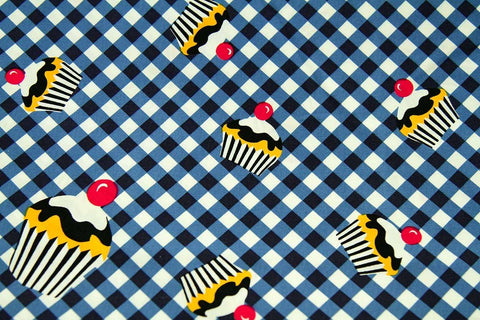 CS: Tumbling Cupcakes: Blue and White Check Patchwork / Craft Fabric_OUT OF STOCK