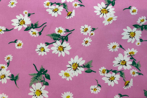 Rainbow Fabrics CS: White Daisy on Pink Cotton Sateen Price per meter