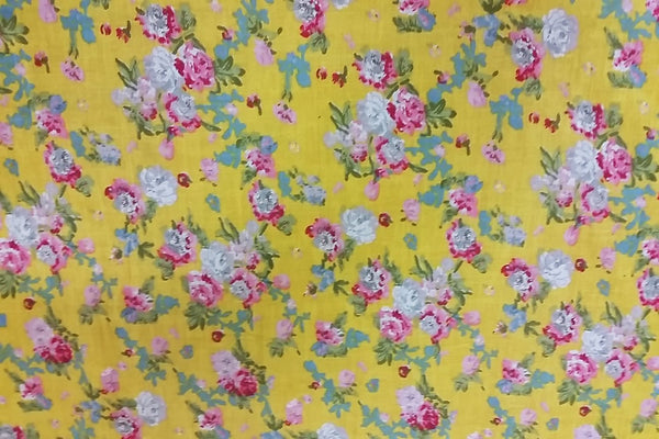 Rainbow Fabrics CV: Roses on Yellow Cotton Voile Price per meter