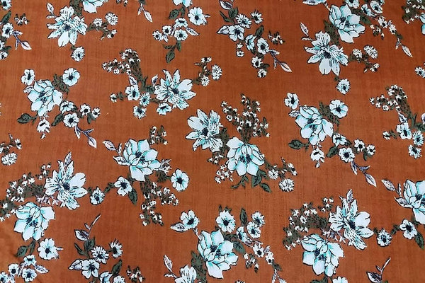 Rainbow Fabrics CV: White Carnation on Russet Cotton Voile Price per meter