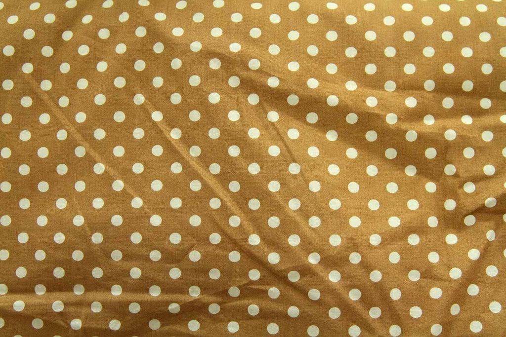 Rainbow Fabrics DO: Small White Dots Brown Brown Craft Fabric