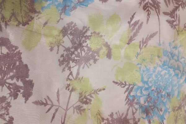 Rainbow Fabrics EO: Colourful Leaves on Light Yellow Organza White Fabric