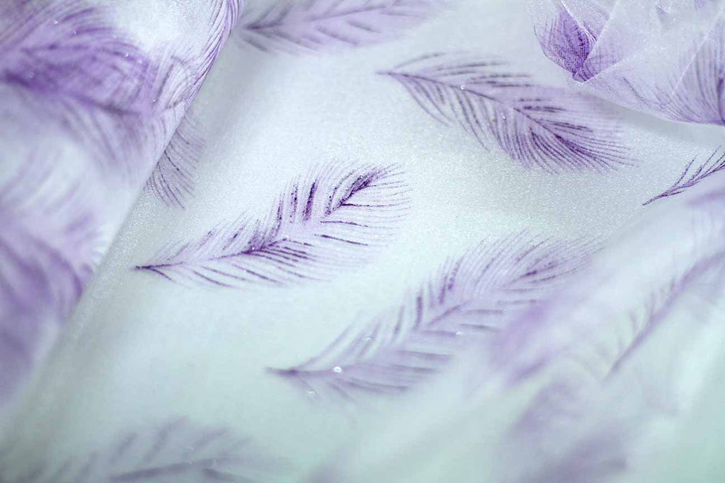 Rainbow Fabrics EO: Feather's Purple Organza White Fabric