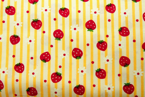 FB: Lines and Strawberries Yellow Patchwork / Craft Fabric