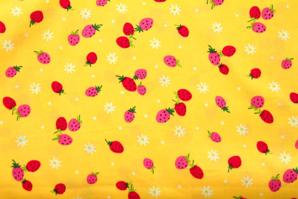 Rainbow Fabrics FB: Raining Berries Yellow Yellow Craft Fabric